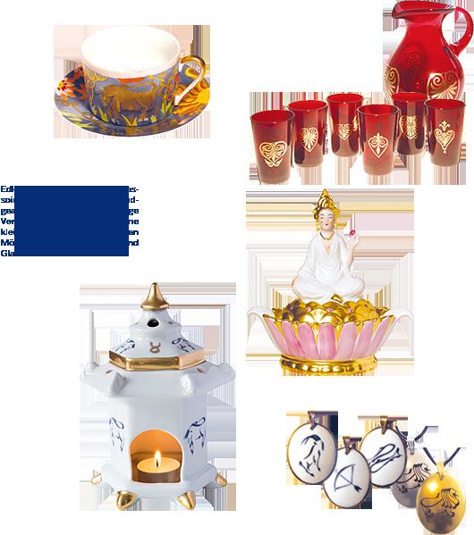 Auswahl an Porzellan- und Glas-Produkten